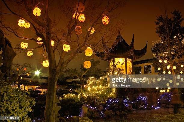 winter solstice lanterns at chinese garden - winter solstice stock photos and pictures
