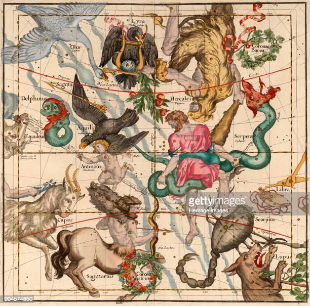 Winter Solstice Plate 5 from Globi coelestis in tabulas planas redacti descriptio IgnaceGaston Pardies pub 1674