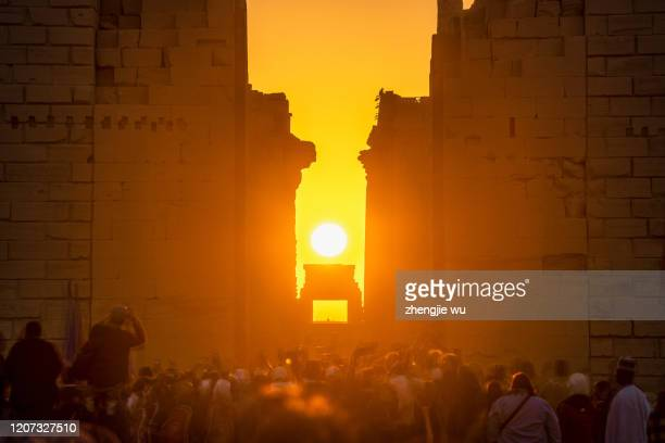 winter solstice sunrise at the karnak temple,luxor,egypt,egyptian sun festival - egypt stock pictures, royalty-free photos & images