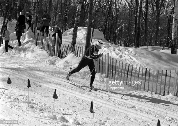 Winter Sport, 50 km Cross Country Skiing, Sapporo, Japan, 16th February 1972, Norway's Paal Tyldum is pictured en route to winning the Gold Medal