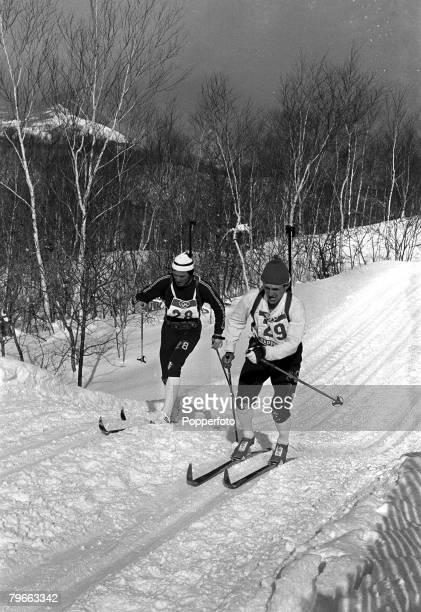 Winter Sport Biathlon Sapporo Japan 16th February 1972 Norway's Magnar Solberg is pictured beside Russia's Alexandre Tikhonov en route to winning the...