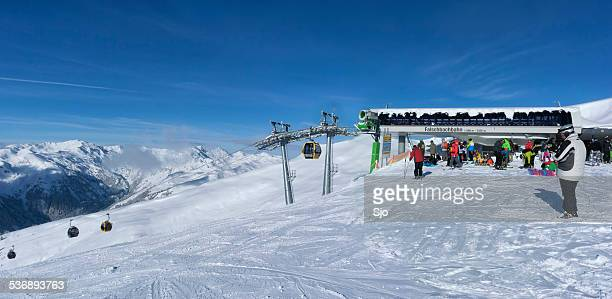Winter sporters at the top of the ski piste