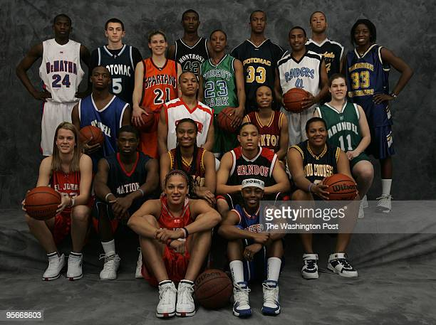 Winter Sports AllMet girls and boys basketball players photographed at the MCI Center on Tuesday March 22 2005 BASKETBALLFront row Brittany Mitch...