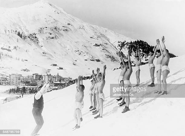 winter sports gymnastics boys in underwear at gymnastics exercises in the snow 1927 Photographer Frankl Published by 'Das Blatt der Hausfrau' 08/1927...