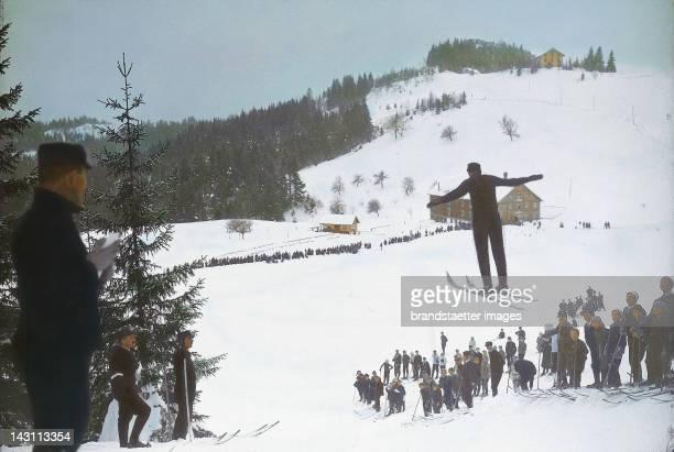 Winter sports in Bregenz Vorarlberg Austria Handcolored lantern slide around 1910