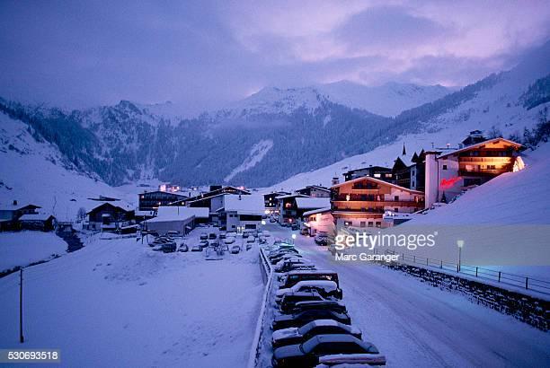 Winter Sports Village in Evening