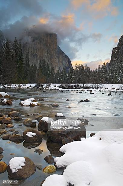 A winter storm clears over El Capitan and the Merced River, Yosemite Valley, Yosemite National Park, California, USA