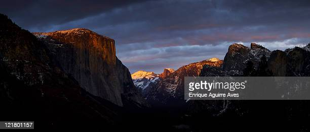 A winter storm clears over El Capitan, the Three Brothers, Half Dome and Bridalveil Fall, Yosemite Valley, Yosemite National Park, California, USA