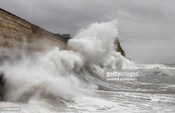winter storm in saltdean - saltdean stock pictures, royalty-free photos & images