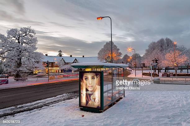 Winter Street Scene at Twilight Cardiff Wales UK