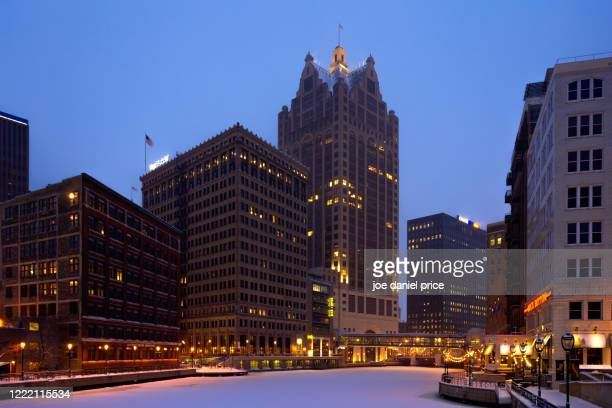 winter, sunrise, downtown, milwaukee, wisconsin, america - vilas_county,_wisconsin stock pictures, royalty-free photos & images