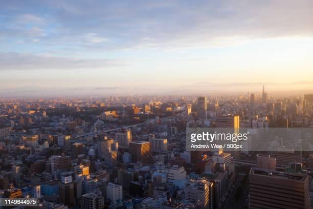winter sunrise in nagoya - nagoya stock pictures, royalty-free photos & images