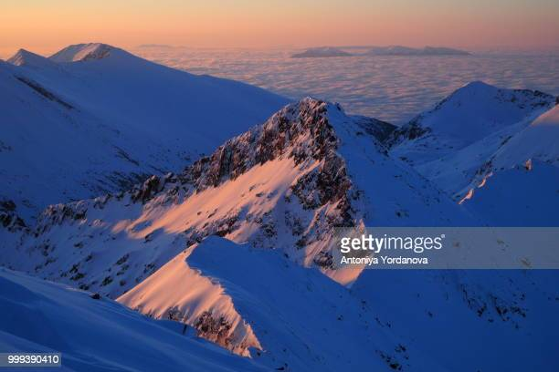 winter sunrise in national park pirin, bulgaria - pirin national park stock pictures, royalty-free photos & images