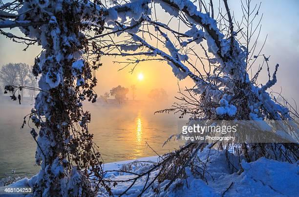 Winter Sunrise in Wusong Island, Jilin China