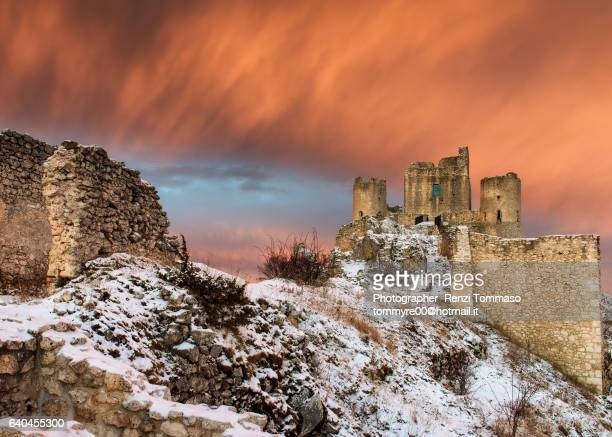 Winter Sunrise over Rocca Calascio Medieval Castle in Abruzzo , Gran Sasso National Park
