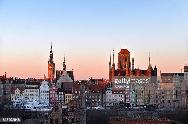 Winter sunrise over the old town of Gdansk (Danzig), Poland.