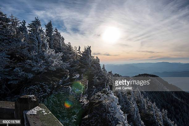 winter sunset at roan high bluff on roan mountain - appalachia stock pictures, royalty-free photos & images
