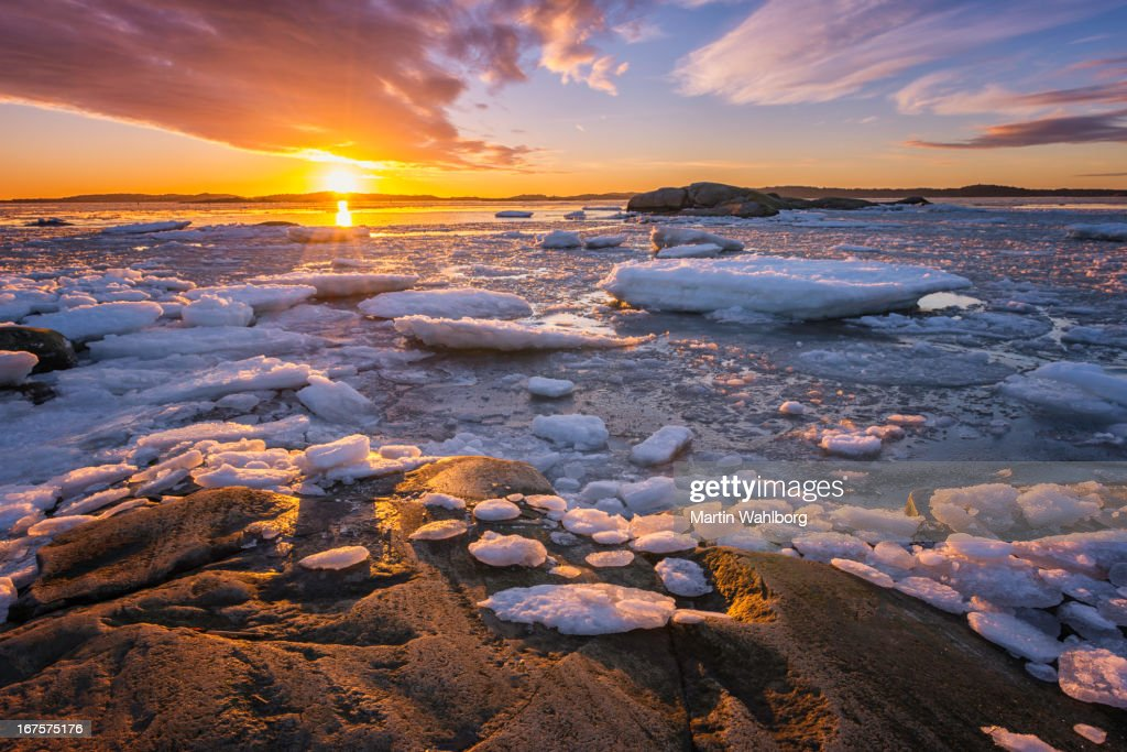 Winter sunset at the sea : Stock Photo