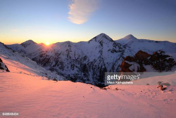 winter sunset in pirin mountain - pirin national park stock pictures, royalty-free photos & images