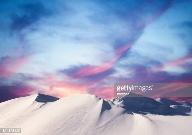 winter sunset in the mountains - hill stock pictures, royalty-free photos & images