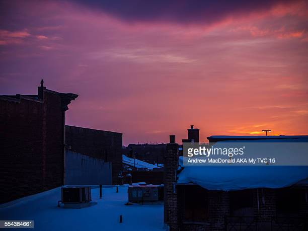 winter sunset in urban downtown setting - peterborough ontario stock photos and pictures