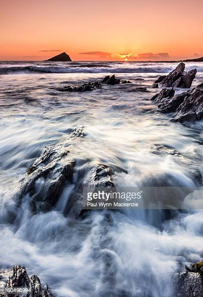 Winter, sunset, seascape, wembury, devon, uk, england, rocks, landscape, february, mew stone, waves, pretty, beautiful, cold, coast, portrait,...