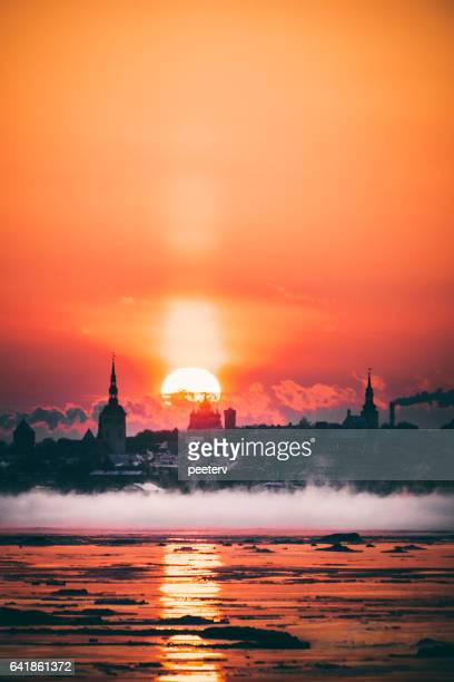 winter sunset. tallinn, estonia. - tallinn stock pictures, royalty-free photos & images
