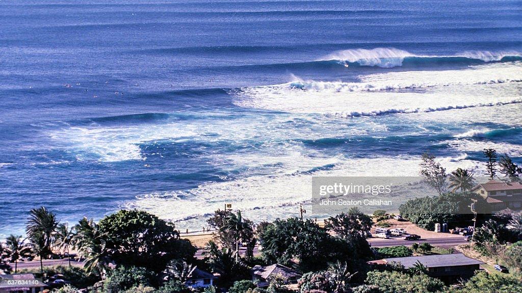 Winter Surfing at Sunset Beach : Stock Photo