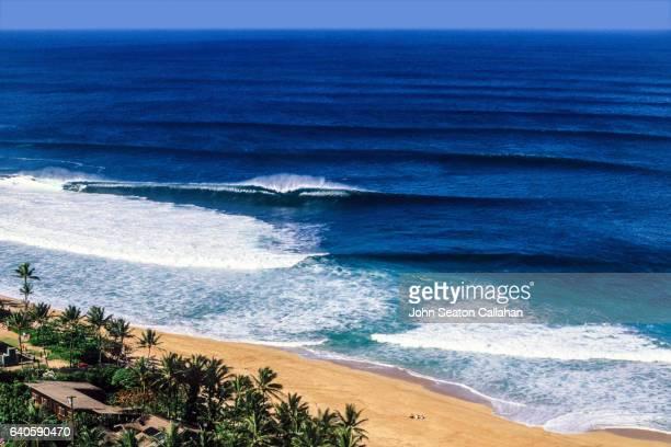 winter surfing at the pipeline - haleiwa - fotografias e filmes do acervo