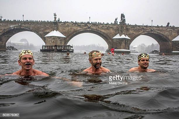 Winter swimmers attend the traditional Three Kings swim in the Vltava river on January 6 2016 in Prague Czech Republic About thirty swimmers took...