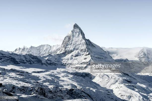 winter switzerland landscape with matterhorn - switzerland stock pictures, royalty-free photos & images
