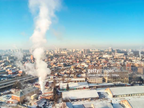 Winter Town. Frosty Sunny Day In The City. Snow On The Streets A