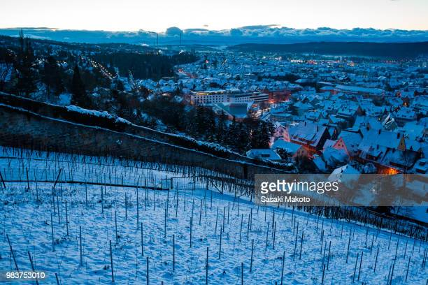 winter townscape looking down from hilltop
