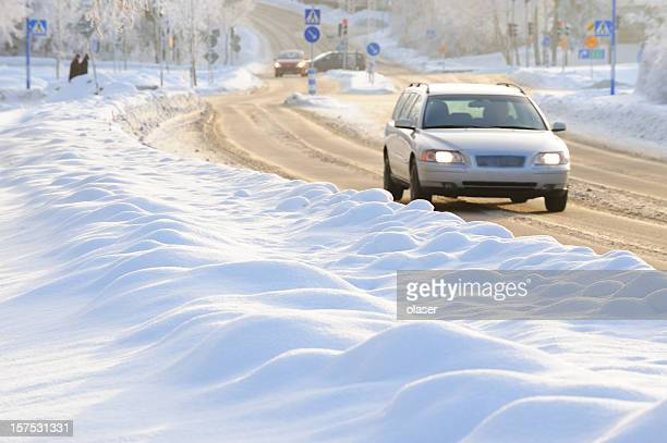 winter traffic, car close up - snow squall stock photos and pictures