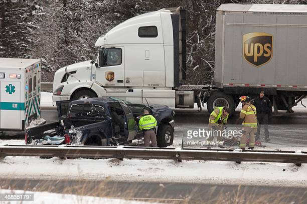 Winter truck accident on Interstate 70 Colorado