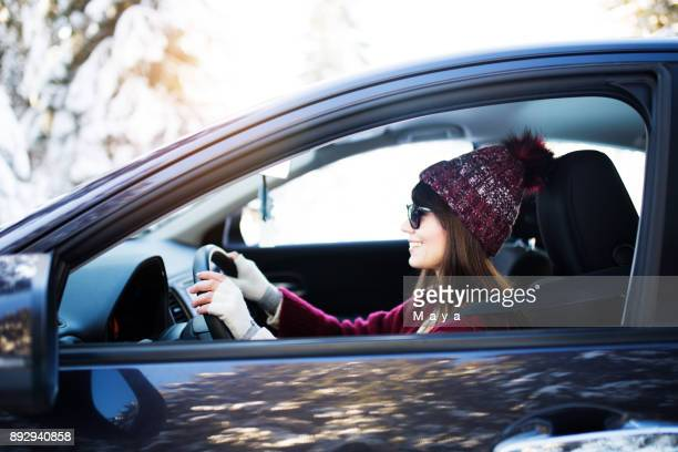 winter vacation - driving stock pictures, royalty-free photos & images