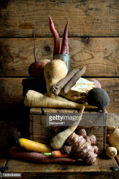 winter vegetables on rustic wooden background - 西洋わさび ストックフォトと画像