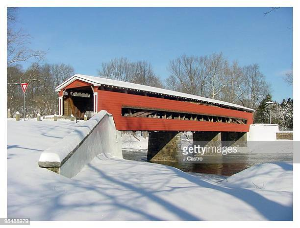 winter view of a covered bridge - wilmington delaware stock pictures, royalty-free photos & images