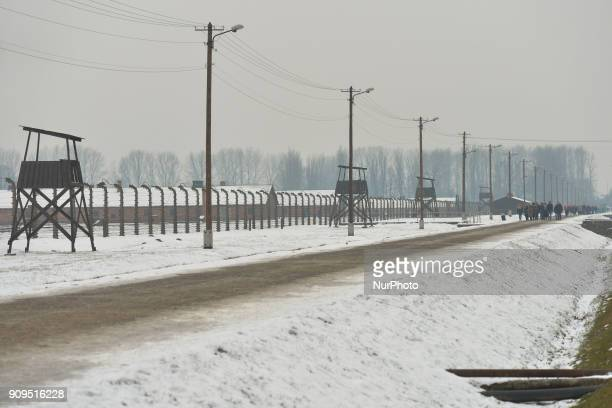 A winter view of Auschwitz IIBirkenau a German Nazi concentration and extermination camp just a few days ahead of the 73rd anniversary of the camp...