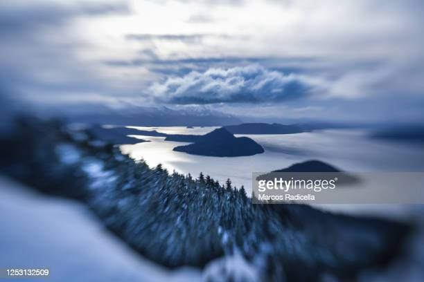 winter view of bariloche - radicella stock pictures, royalty-free photos & images