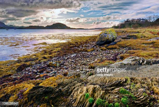 Winter view of Loch Craignish in the Scottish Highlands at low tide.
