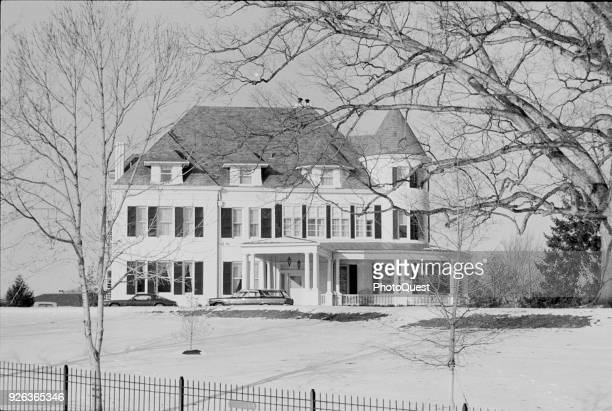 Winter view of Number One Observatory Circle, the US Vice President's official residence, in snow, Washington DC, January 17, 1977.