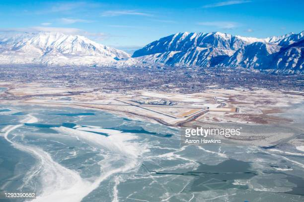 winter view of provo airport and utah valley - provo stock pictures, royalty-free photos & images