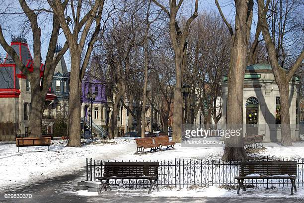 Winter view of Square Saint-Louis, Montreal, Quebec, Canada