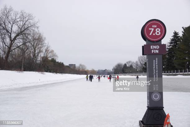 Winter view of the end of the Rideau Canal Skateway in Ottawa during Winterlude 2019. The world's longest skating rink is enjoyed by many skaters.