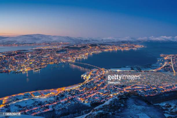 winter view of tromso, norway. - bay of water stock pictures, royalty-free photos & images