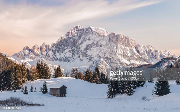winter view of val badia, dolomites, italy - dolomites stock pictures, royalty-free photos & images