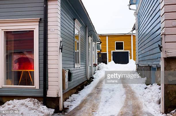 Winter view of wooden Porvoo, Finland