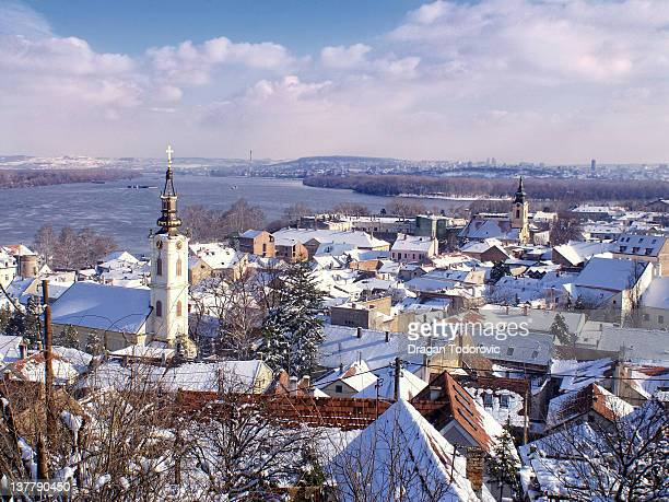 winter view of zemun - belgrade serbia stock photos and pictures