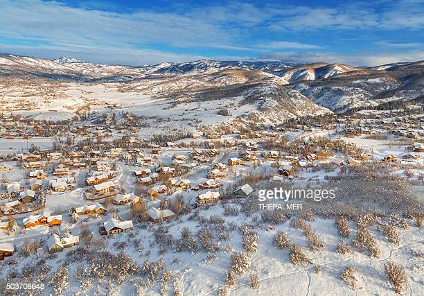 winter village from midair - steamboat springs colorado stock photos and pictures